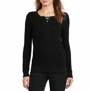 Ralph Lauren Black Lace-Up Chunky Knit Sweater Casual Career Work
